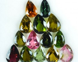 21 Cts NATURAL FANCY TOURMALINE PEAR CUT MOZAMBIQUE 14 PCS PARCEL