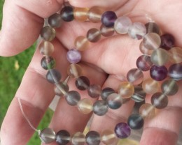 FLUORITE MULTI COLORED BEAD STRAND 15.5 INCH LENGTH