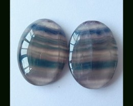 Fluorite Oval Cabochon Pair,25x18x7 MM