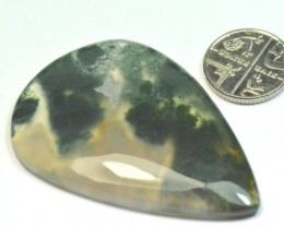 55mm drop pear heart MOSS AGATE cabochon AAA Collector Grade
