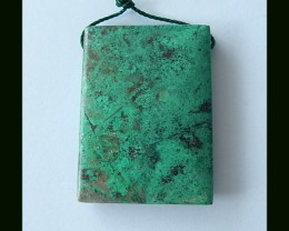 Square Natural Chrysocolla Pendant Bead,36x26x6 MM