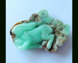 Technical Bunny Carving ChrysopraseGemstone Carving,64x47x9 MM,115.5 Cts