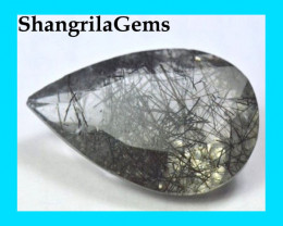 26mm black Rutile Tourmalated Quartz faceted gem 22.85ct