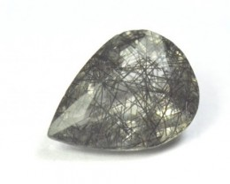 18.6mm black Rutile Tourmalated Quartz faceted gem 10.8ct