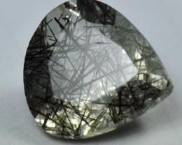 heart pear drop black Rutile Tourmalated Quartz faceted gem