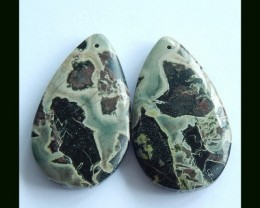 79 Cts Natural Moss Agate Earring Beads