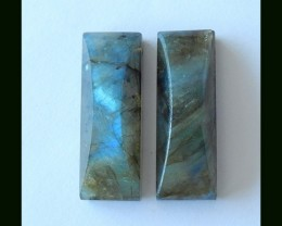 Faceted Labradorite Earring Beads Pair,52.85 Cts