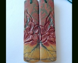 60.5 Ct New Design Flower Carved Picasso Jasper Long Earring Pair