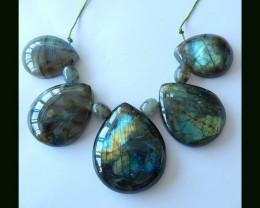 242.5 Cts Labradorite Teardrop  Beads Necklace Bead Strand