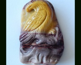 Gemstone Carving Handmade Bird Carving Mookaite Jasper Pendant Bead,96.5 CT
