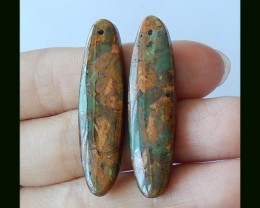 Natural Green Jasper Earring Bead Gemstone Bead,40x10x5 MM