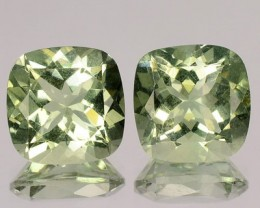 Fabulous 7.37 Cts Natural Prasiolite Green Amethyst Cushion Pair NR
