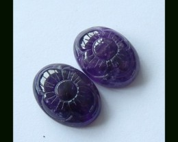 Amethyst Flower Carving Cabochon Pair,20x15x7 MM