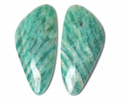 Amazonite cabochon blue turquoise pair