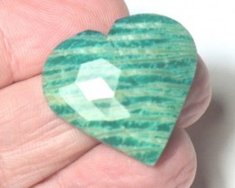 Amazonite cabochon turquoise blue green faceted heart shape