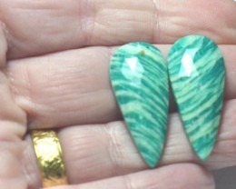 Amazonite cabochon blue turquoise pair drop arrow shape