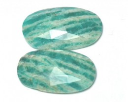 Amazonite cabochon blue turquoise pair oval shape