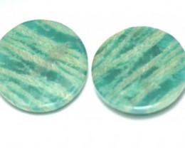 Amazonite cabochon blue turquoise pair round shape