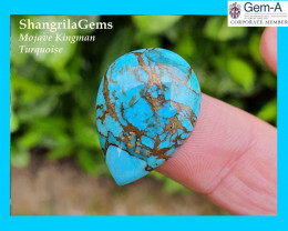 22mm Mojave Turquoise cabochon drop pear 22 by 16.5 by 4.5mm MESMERISING!