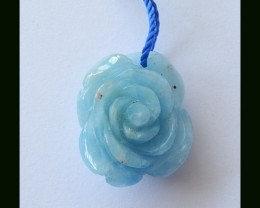 Smart Blue Aquamarine Flower Carving Pendant Bead,17.5 Cts