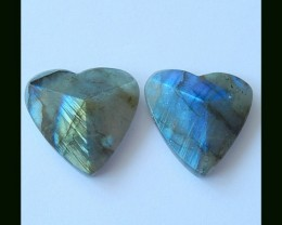 Faceted Labradorite Heart Shape Cabochons,55 Cts