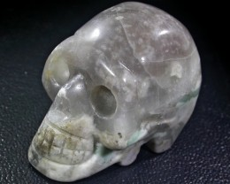 JASPER  VERY LIGHT GRAY COLOR BASE GEMSTONE SKULL BU245