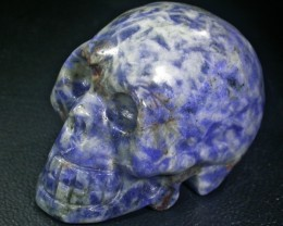 JASPER BLUE WHITE CONVINATION  GEMSTONE SKULL BU262