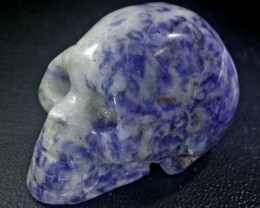JASPER BLUE AND WHITE CONBINATION  GEMSTONE SKULL BU263