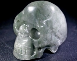 JASPER BEAUTIFUL MOSSGREEN GEMSTONE SKULL BU269