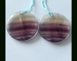 Natural Fluorite Oval Earring Beads ,94.7 Cts