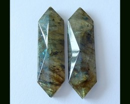 32 Cts Faceted Natural Labradorite Cabochon Pair