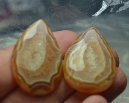 Botswana Agate drop shape pair cabochon orange