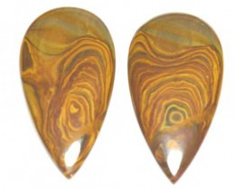 Biggs Jasper cabochon pair drop shape