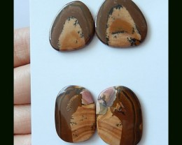 2 Pair Natural US Picture Jasper Cabochons,34 Cts