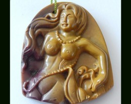 Mookaite Jasper Beauty Carving Pendant Bead,67.5 Cts