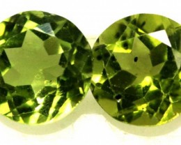 1.7 CTS  PERIDOT BRIGHT GREEN PAIR (2 PCS) CG-1965