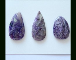 3 PCS Natural Charoite Cabochons Untreated Charoite,96 Cts