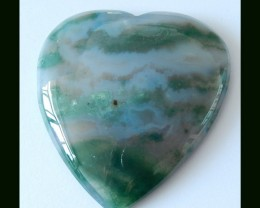 124 Cts Natural Moss Agate Heart Shape Cabochon