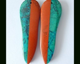 43 Cts Natural Chrysocolla,Red River Jasper Intarsia Earring Beads