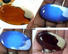 AMBER  INDONESIA  HONEY GOLD TO BLUE 40.70   CTS  TBG-2133 gc