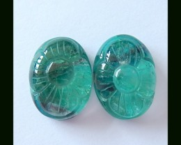 Chrysocolla,Quartz Intarsia Cabochons Pair With Flower Carving,