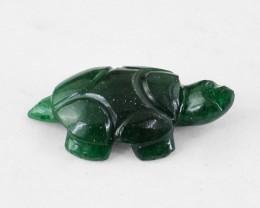 Genuine 20.15 Cts Green Jade Tortoise Carving