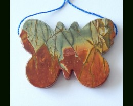 Natural Multi Color Picasso Jasper Butterfly Carving Pendant Bead,(D0073)