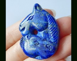 Hand Carved Two Lapis Lauzli Horse Head Carving Cabochon,37x29x6 MM,66.25 C