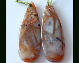 Natural Bamboo Agate Earring Beads,39 Cts