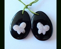 Hand Carved Pink Opal Butterfly,Obsidian Intarsia Earring Beads,25x17x7 MM