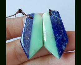 Natural Lapis Lazuli,Chrysoprase Intarsia Earring Beads,30x15x4mm,29.5 Cts