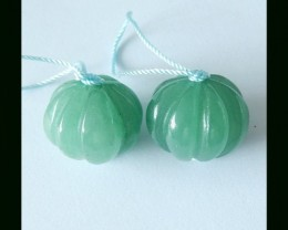 Pumpkin Carving Green Aventurine Earring Beads,59 ct