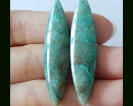 Natural Chrysocolla Marquise Earring Beads,35.5 Cts(B180463)