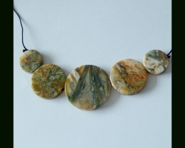 Natural Bamboo Agate Round Beads,91 Cts